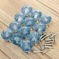 12X Blue Diamond Shape Crystal Glass Cabinet Knob Cupboard Drawer Pull Handle MT