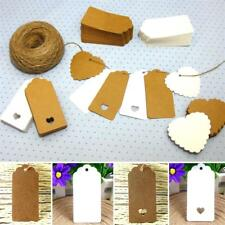 10/25/50/100 Kraft Paper Gift Tags Scallop Label Wedding Blank + Strings *UK*