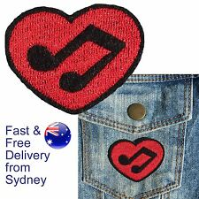 Music love heart with note Iron on patch  - red deco for music lovers patches