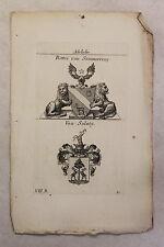Gravure sur cuivre Armoiries Famille Chevalier v Anneau de soemmerringmédecin &