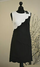 DKNY Dress A-line Pencil Sleeveless Black White Cloud Design Midi Sz. UK 10