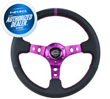 NEW NRG Deep Dish Steering Wheel 350mm LEATHER Purple Stitch and Mark RST-006PP