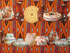 Navajo Native American Bowls Tan Red Print Cotton Fabric FQ OOP