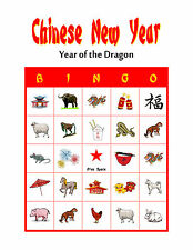 Chinese New Year Birthday Party Game and Activity Bingo Card Game