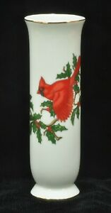 "Lefton Japan White Porcelain with Red Cardinal Christmas Bud Vase 6.5"" Tall NEW"