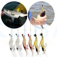 Fishing Soft Plastic Simulation Prawn Fake Shrimp Silicone Bait Lure Trout Bass