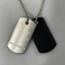 R-1279980 New Emporio Armani Iconic Sterling Silver Dog Tag Necklace