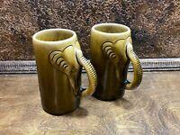Pair Vintage Stoneware Thai Celadon Elephant Coffee Mugs / Handled Steins - Cups