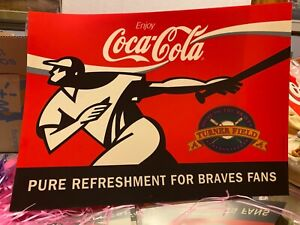 '90s COCA-COLA TRANSLUCENT TURNER FIELD/BRAVES VYNL SIGN-12X17 INCHES-NEAR MINT