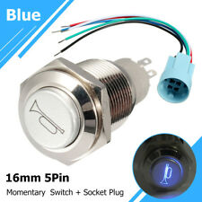 12V 16mm Air Horn Momentary Push Button Switch LED Light Blue + Socket Connector