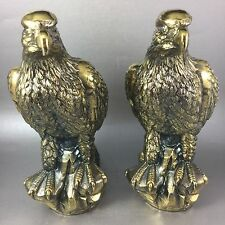 Pair Of American Bald Eagles Brass Plated Spelter NOS
