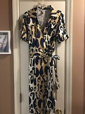 Diane von Furstenberg large spotted frog cheetah Samara wrap dress Size 10 $425