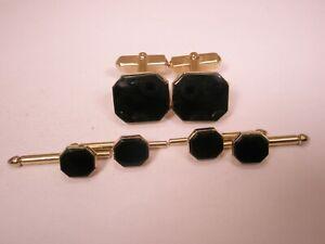 -Octagon Black Vintage SWANK Cuff Links & Formal Shirt Studs set tux groom p89
