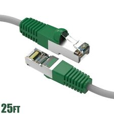 25Ft Cat5E Rj45 Network Ethernet Modem Shielded Crossover Gray Cable Green Boot