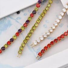 18k ct Gold Filled GF Fashion Luxury Red Zircon Women's Bracelet Length - 19cm