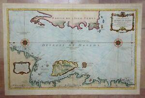 CANADA GREENLAND 1765 by NICOLAS BELLIN VERY LARGE UNUSUAL ANTIQUE SEA CHART