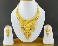 Indian Women Gold Plated Traditional 3PC Necklace Earrings Set Ethnic Jewelry