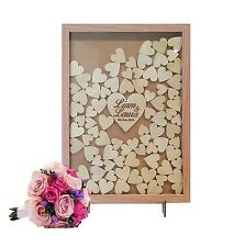 Rustic 100 hearts Wooden-colour Heart Drop Box Wedding Guestbook wishing well