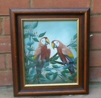 ORIGINAL  GUY PERLMAN MACAWS PARROTS OIL PAINTING