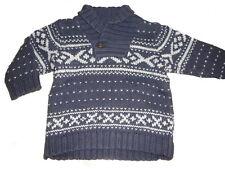 H & M toller Strick Pullover Gr.  74 / 80 blau-weiß mit tollen Mustern !