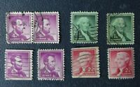 Y12, Sellos lot 8 stamp USA Lincoln, Washington, Jefferson, usados