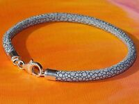 Ladies 4mm Stingray print Leather & sterling silver bracelet by Lyme Bay Art
