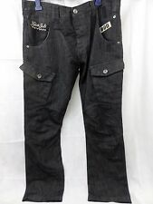 Mens Peviani black combat  jeans cargo Size 38 club wash pants hiphop S136