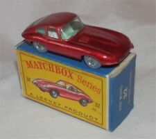 Rare TINTED WINDOWS,1960s.Matchbox.Lesney.32.Jaguar E Type,GREY tires.MINT BOXD