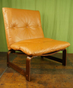 60er Vintage Armchair Retro Leather Jacaranda Easy Chair Cognac Westnofa Rykken
