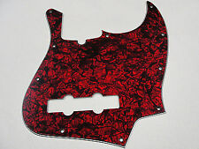 D'ANDREA PRO JAZZ BASS PICKGUARD 10 HOLE RED PEARLOID MADE IN THE USA