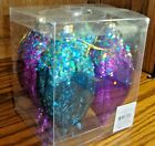 NIP Christmas Tree Ornaments/Tear Drop Shatter-Proof Glitter Teal & Purple   562