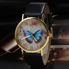 Fashion Womens Ladies Watches Butterfly Leather Strap Analog Quartz Wrist Watch