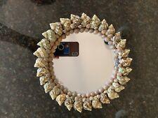 Beautiful Beige Sea Shell Mirror art handmade beach home decor cottage 9� Round