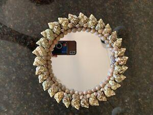 "Sea Shell Mirror 9"" art round handmade beach home decor cottage"