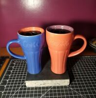 Vintage Coke Coca Cola Blue/Orange Ceramic Travel Mug With Lid. Clean!!