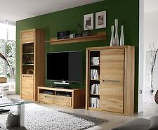 Wohnzimmer Möbel Wohnwand Kern Buche massiv mit LED Beleuchtung Schrankwand Zino