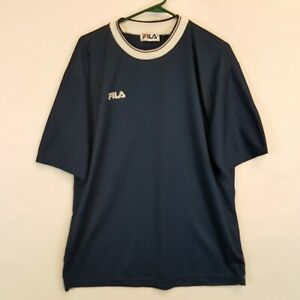 Vtg Fila Italy Made Mesh T Shirt Jersey Size XL Blue Short Sleeve Borg Tennis