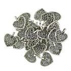50 Pcs Tibetan Silver Filigree Heart Charms Pendants DIY Jewelry Making