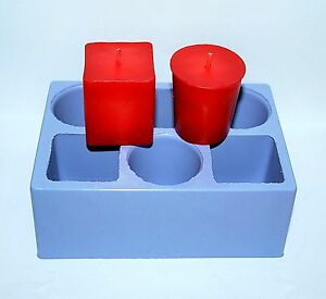 silicone VOTIVE Candle Mold 6 cavities round square votive easy release homemade