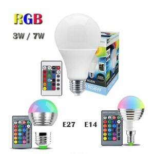 LED Birne RGB 3W 7W E14 E27 Farbwechsel Glühlampe Licht mit IR Fernbedienung DE