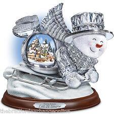 Thomas Kinkade Crystal Sledding Snowman Illuminated Musical Sculpture