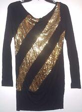 EUC Miss Sixty Luxury Black Gold Sequins Knit Stretch Mini Tunic Dress Size XS