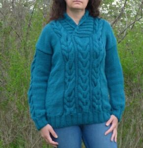Men Wool Sweater Crew Neck,Hand Knit Chunky Pullover,Cable Thick Jumper