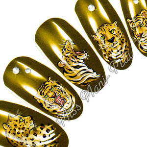 Nail Art Water Decals, Stickers, Transfers, Cats Tigers Leopards Cheetahs K081