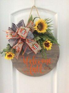 """Welcome Fall"" Round Wooden Wreath Hanger Farmhouse Door Wreath Wall 18"""