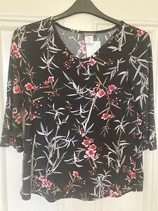 Kim & Co Floral Venechia 3/4 Sleeve Top Small NWOT