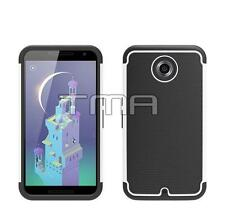 Fits Motorola Google Nexus 6 Case Hybrid Impact Shockproof Rugged Cover - White