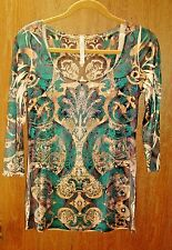 New Allie Ollie Women's M Medium Stretch Green Embellished 3/4 S. Top Tunic D431
