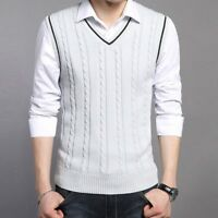 Men Knit Waistcoat Gilet Vest Sleeveless Jumper Cable Knit Pullover Classic Tops
