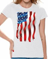USA Flag T shirts Shirts Top for Women Women's American Flag Distressed